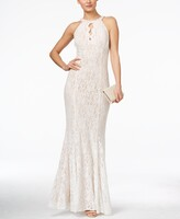 Thumbnail for your product : Nightway Lace Keyhole Halter Gown