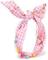Maison Michel Calie Embellished Gingham Cotton Headband - Pink