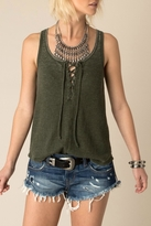 White Crow Lace Up Tank