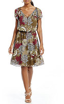 Jones New York Garden Floral Print Flutter Sleeve Blouson Dress