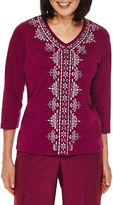 Alfred Dunner Veneto Valley 3/4-Sleeve Center-Embroidery Top