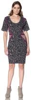 Cut25 Women's Fitted Wool Dual-Print Dress
