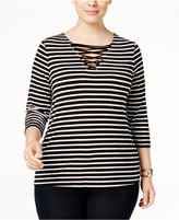 INC International Concepts Plus Size Lace-Up Striped Top, Only at Macy's