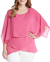 Karen Kane Plus Silky Crepe Layered Crossover Top