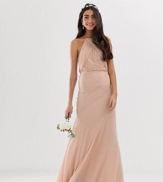 Asos Tall DESIGN Tall Bridesmaid pinny bodice maxi dress with fishtail skirt-Grey