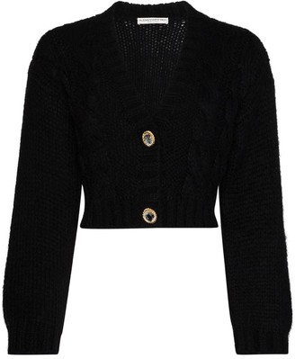 Alessandra Rich Cropped Crystal-Embellished Cardigan