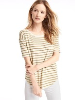 Stripe short drop sleeve tee