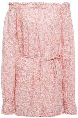 Maje Off--the-shoulder Floral-print Cotton-gauze Top
