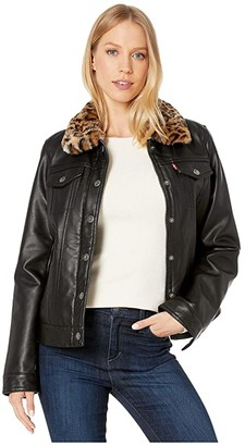 Levi's Faux Leather Trucker with Sherpa Lining and Collar (Black/Leopard) Women's Clothing