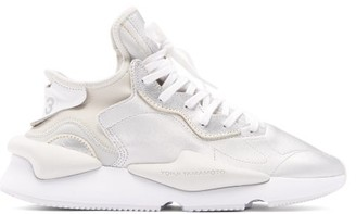 Y-3 Kaiwa Thick-sole Metallic-leather Trainers - Mens - Silver