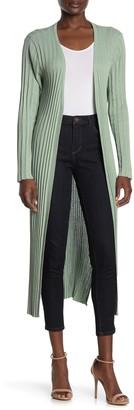Love Token Pleated Open Front Tie Cardigan Duster