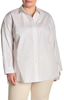 Lafayette 148 New York Trinity Striped Collared Blouse (Plus Size)