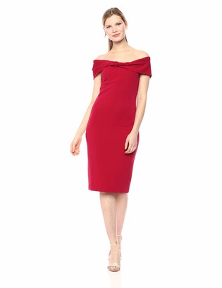 Nicole Miller Women's Structured Heavy Jersey Twist Off Shldr Dress