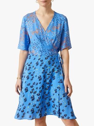 Jigsaw Ditsy Floral Print Wrap Dress, Azure Blue/Multi