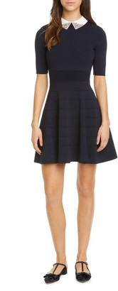 Ted Baker Embellished Collar Knit Fit & Flare Dress