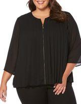 Rafaella Plus Pleated Zip-Front Blouse