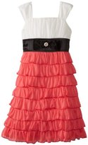Ruby Rox Girls 7-16 Tiered Ruffle Dress with Bow At Waist