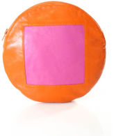 Lisa Perry NWT Orange Pink Leather Large Circle Pouch Clutch Handbag $140