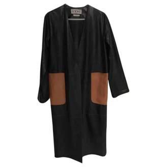 Loewe Black Leather Trench coats