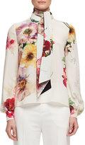 Lanvin Bouquet-Print Tie-Neck Blouse, Fuchsia