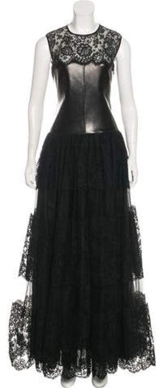 Valentino Leather-Paneled Lace Gown w/ Tags Black Leather-Paneled Lace Gown w/ Tags