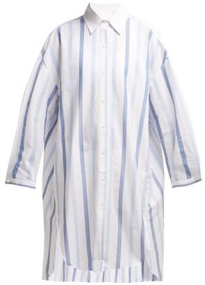 Binetti Love Fernando Striped Cotton Shirtdress - Womens - Blue Stripe