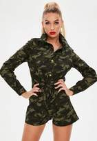 Missguided Camo Utility Playsuit