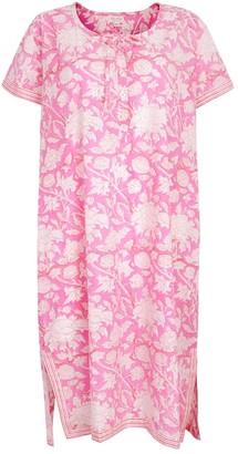 Nologo Chic Hand Printed Night Dress - Cotton - Hibiscus Pink