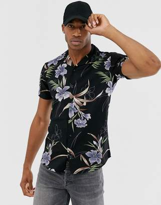 Jack and Jones slim fit shirt in floral print-Black