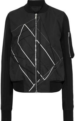 Rick Owens Crepe-paneled Embroidered Shell Bomber Jacket
