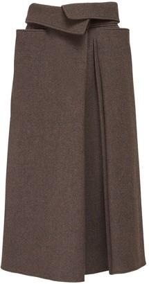 Lemaire Pleated Wool Midi Skirt