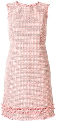 Paule Ka sleeveless fitted fringed edge dress