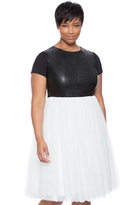 ELOQUII Plus Size Faux Leather and Tulle Dress