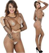Mywaxberry Black Sexy Lingerie Opening Crotchlss Fishnet Jumpsuit Bodystockings