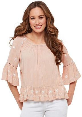 Joe Browns Ruffled Embroidered Blouse with Boat Neck and 3/4 Length Sleeves