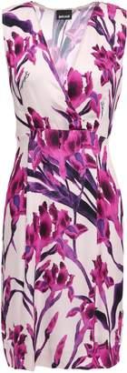 Just Cavalli Wrap-effect Floral-print Cady Mini Dress