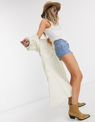 Free People sweet talker crochet kimono in ivory
