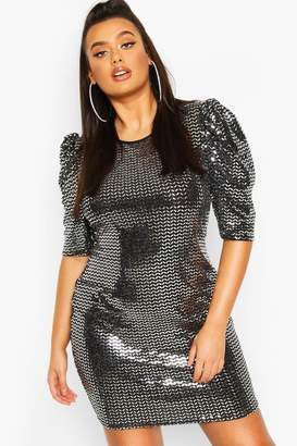 boohoo Plus Sequin Metallic Puff Sleeve Shift Dress