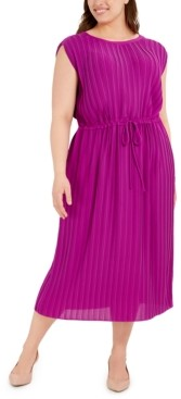 Alfani Plus Size Pleated Tie-Waist Midi Dress, Created for Macy's