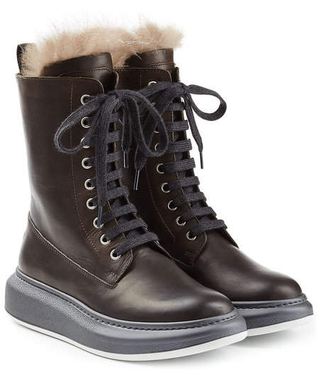 Brunello Cucinelli Leather Ankle Boots with Fur Lining