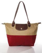 Longchamp Brown Red Nylon Colorblocked Leather Trim Small Tote Handbag
