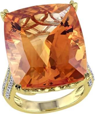 Bellini 31.25 cttw Citrine & 1/2 cttw Diamond Cocktail Ring