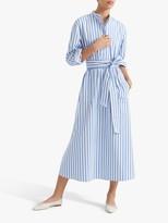 Club Monaco Half Placket Striped Midi Dress, Blue/Multi