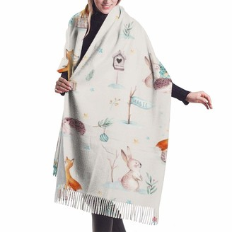 Beauty Design Womens Large Soft Cashmere Scarf Shawl Elegant Comfortable Winter Scarf Warm Wraps Shawls - Watercolor Christmas Holiday Forest Animals Baby Hedgehog Fox Bunny And Snowman