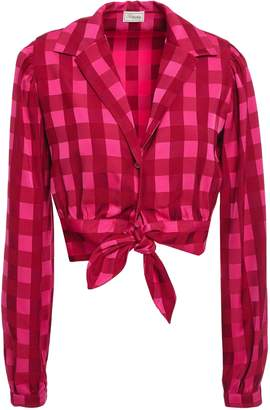 Temperley London Stirling Cropped Tie-front Gingham Jacquard Shirt
