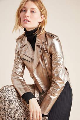 LAMARQUE Roberta Metallic Leather Moto Jacket