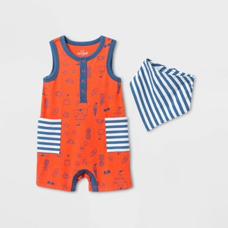 Cat & Jack Baby Boys' Striped Henley Romper with Bib - Cat & JackTM Blue