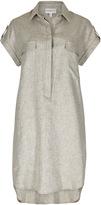 Apricot Khaki Marl Linen Look Shirt Dress