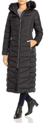 Calvin Klein Faux Fur-Trim Maxi Puffer Coat