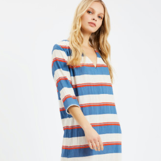 Traffic People Multi Cotton and Linen Mykonos Stripe Dress - cotton | Size M - White/Blue/Red